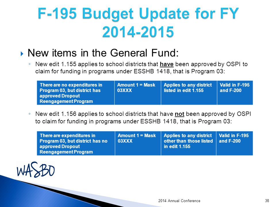 2014 Annual Conference  New items in the General Fund: ◦ New edit 1.155 applies to school districts that have been approved by OSPI to claim for funding in programs under ESSHB 1418, that is Program 03: ◦ New edit 1.156 applies to school districts that have not been approved by OSPI to claim for funding in programs under ESSHB 1418, that is Program 03: There are no expenditures in Program 03, but district has approved Dropout Reengagement Program Amount 1 = Mask 03XXX Applies to any district listed in edit 1.155 Valid in F-195 and F-200 There are expenditures in Program 03, but district has no approved Dropout Reengagement Program Amount 1 = Mask 03XXX Applies to any district other than those listed in edit 1.155 Valid in F-195 and F-200 38