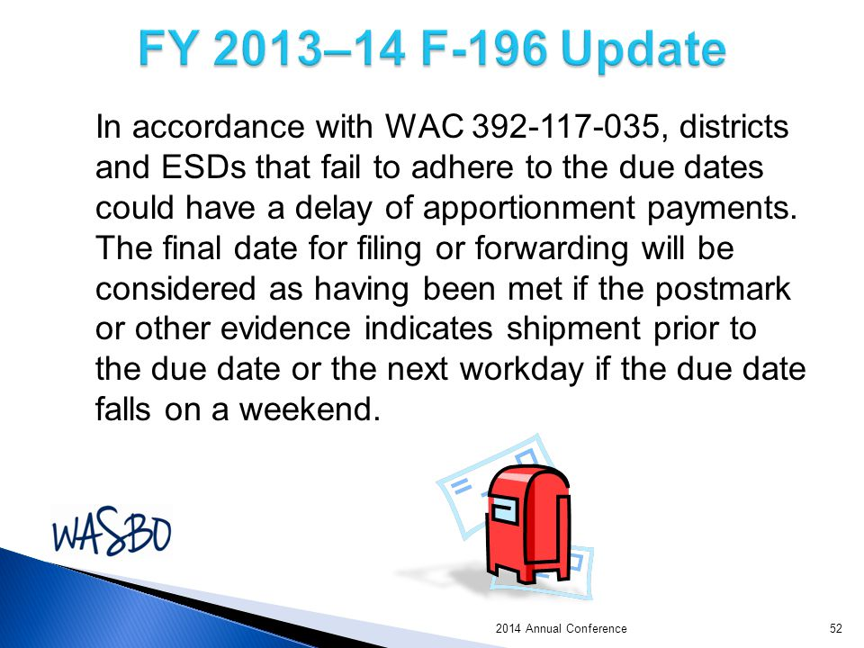 In accordance with WAC 392-117-035, districts and ESDs that fail to adhere to the due dates could have a delay of apportionment payments.