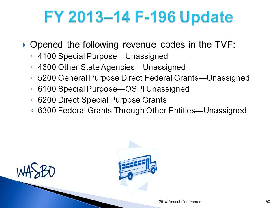  Opened the following revenue codes in the TVF: ◦ 4100 Special Purpose—Unassigned ◦ 4300 Other State Agencies—Unassigned ◦ 5200 General Purpose Direct Federal Grants—Unassigned ◦ 6100 Special Purpose—OSPI Unassigned ◦ 6200 Direct Special Purpose Grants ◦ 6300 Federal Grants Through Other Entities—Unassigned 2014 Annual Conference58