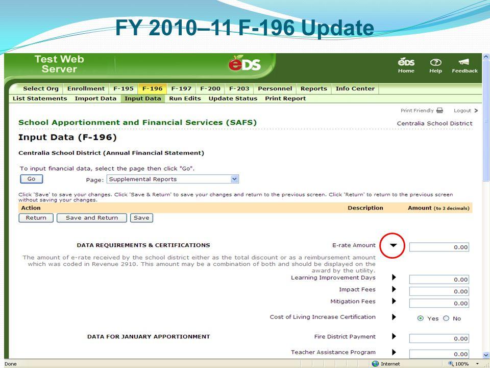 FY 2010–11 F-196 Update 10