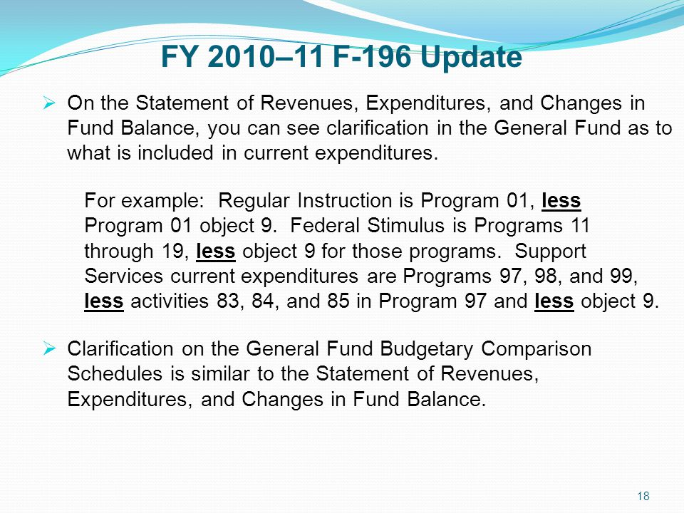 FY 2010–11 F-196 Update  On the Statement of Revenues, Expenditures, and Changes in Fund Balance, you can see clarification in the General Fund as to what is included in current expenditures.