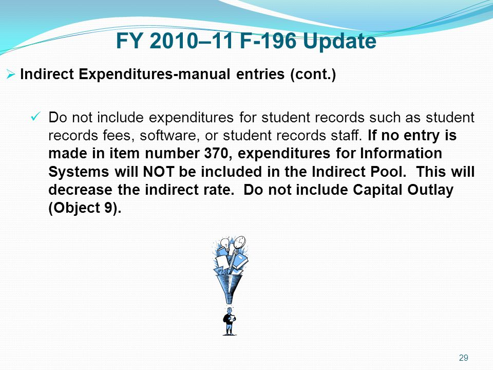 FY 2010–11 F-196 Update  Indirect Expenditures-manual entries (cont.) Do not include expenditures for student records such as student records fees, software, or student records staff.