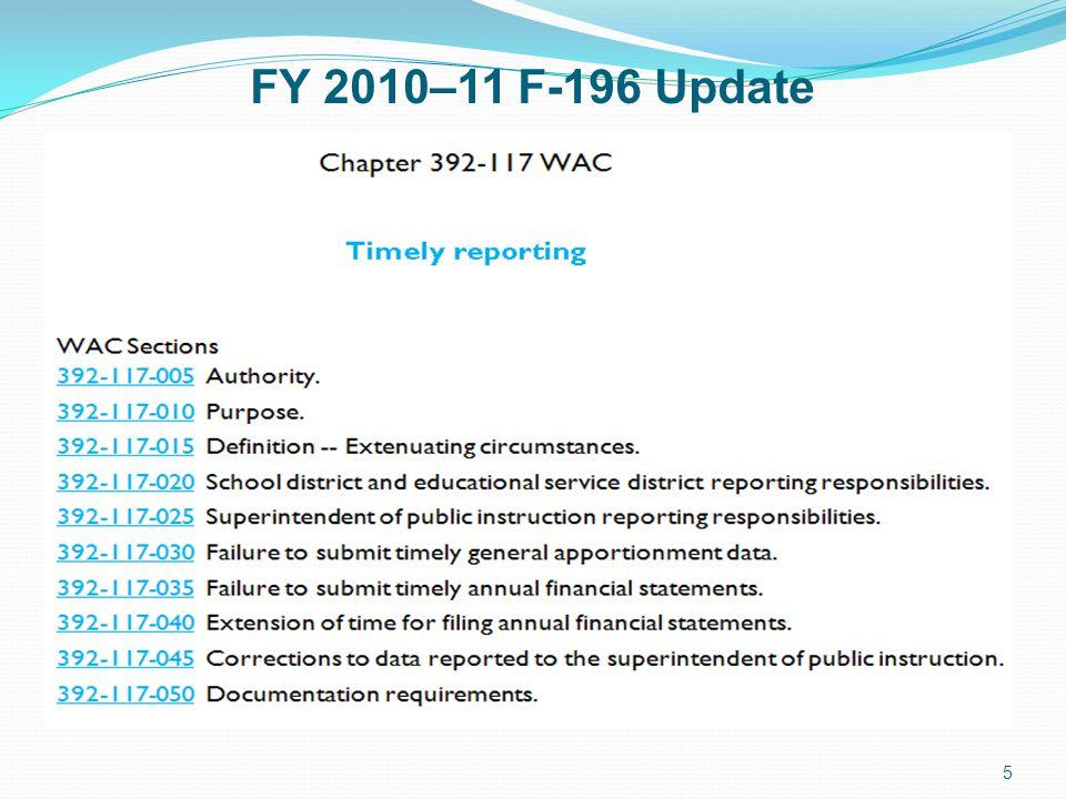 FY 2010–11 F-196 Update 5