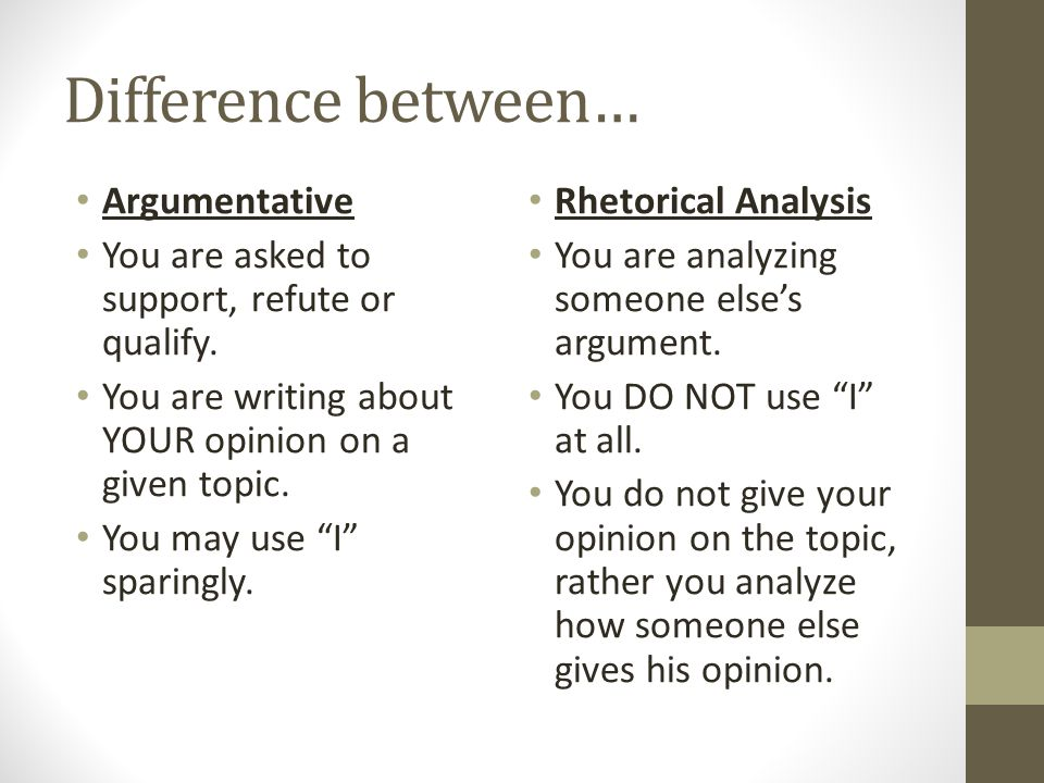 Difference between… Argumentative Draw on examples from your life, other classes, your readings, etc.
