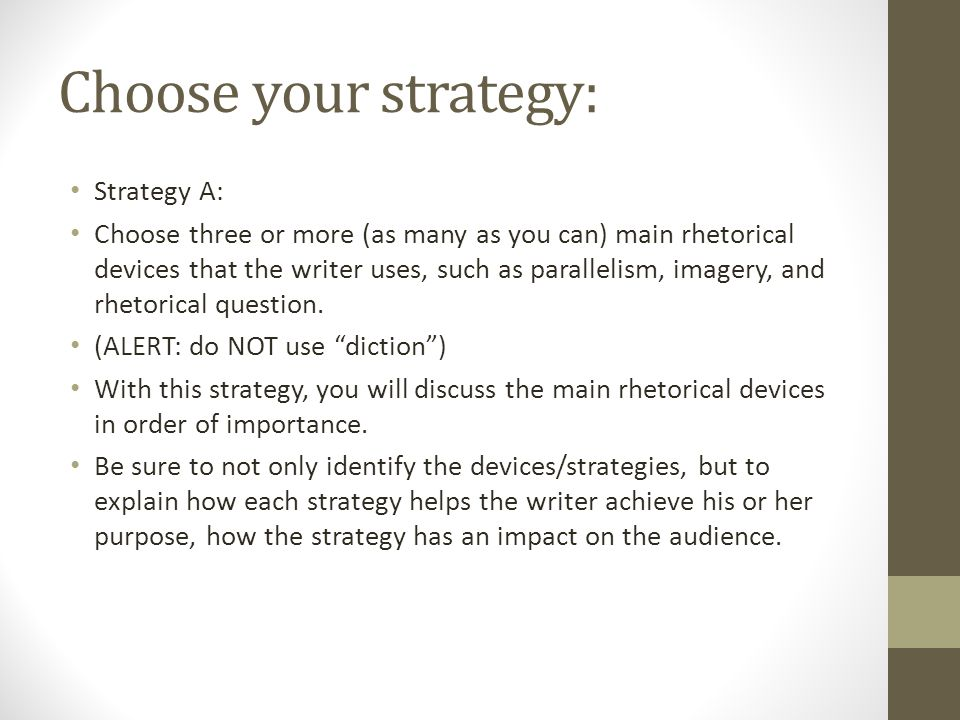 Choose your strategy: Strategy B: Think Structure from Liu Method, add music as you see fit to discuss it.
