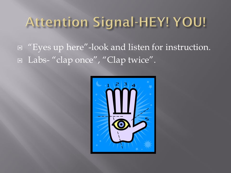 " ""Eyes up here""-look and listen for instruction.  Labs- ""clap once"", ""Clap twice""."