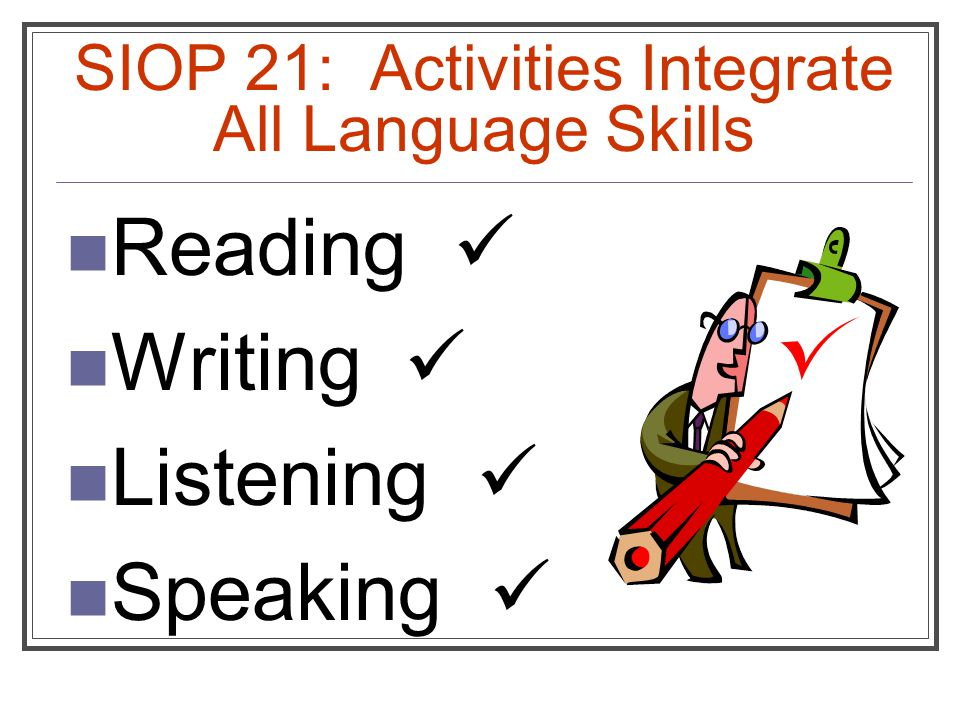 SIOP 21: Activities Integrate All Language Skills Reading Writing Listening Speaking