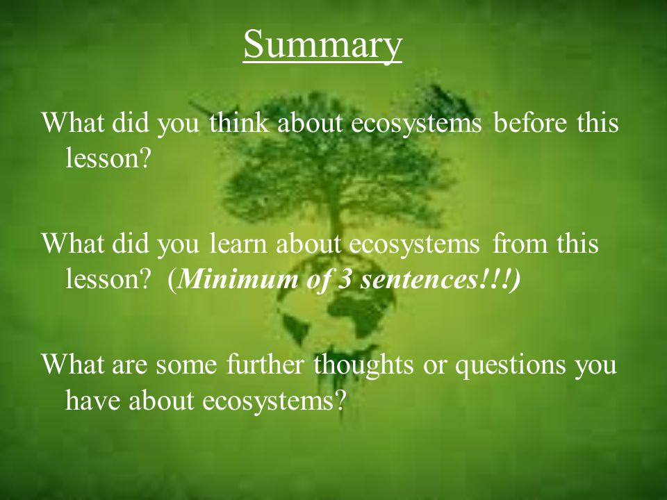 Summary What did you think about ecosystems before this lesson.