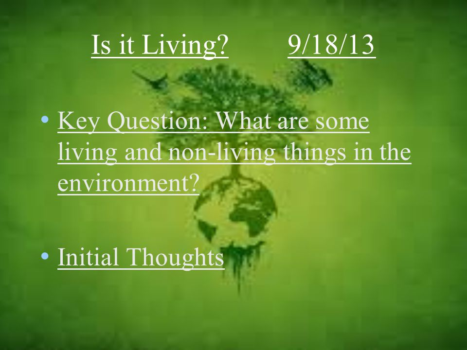 Key Question: What are some living and non-living things in the environment.