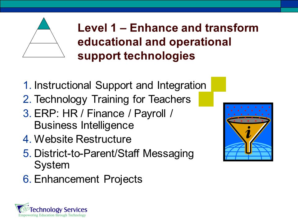Level 1 – Enhance and transform educational and operational support technologies 1.Instructional Support and Integration 2.Technology Training for Teachers 3.ERP: HR / Finance / Payroll / Business Intelligence 4.Website Restructure 5.District-to-Parent/Staff Messaging System 6.Enhancement Projects