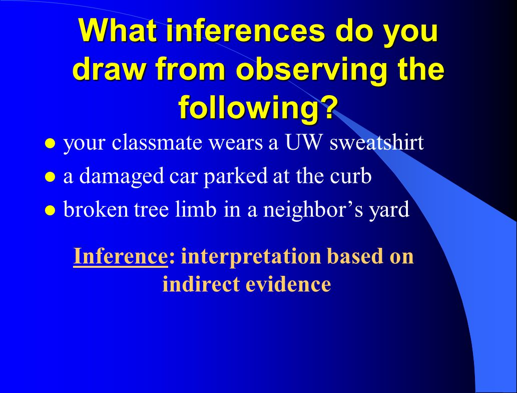What inferences do you draw from observing the following? l your classmate wears a UW sweatshirt l a damaged car parked at the curb l broken tree limb