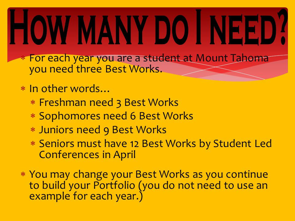  For each year you are a student at Mount Tahoma you need three Best Works.