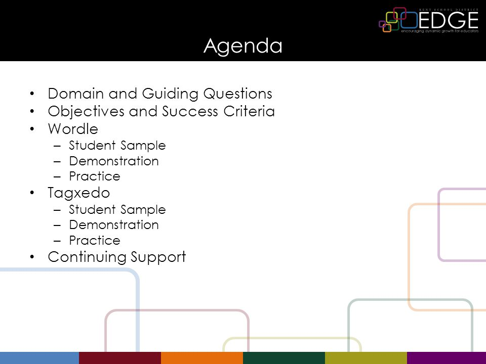 Agenda Domain and Guiding Questions Objectives and Success Criteria Wordle – Student Sample – Demonstration – Practice Tagxedo – Student Sample – Demo