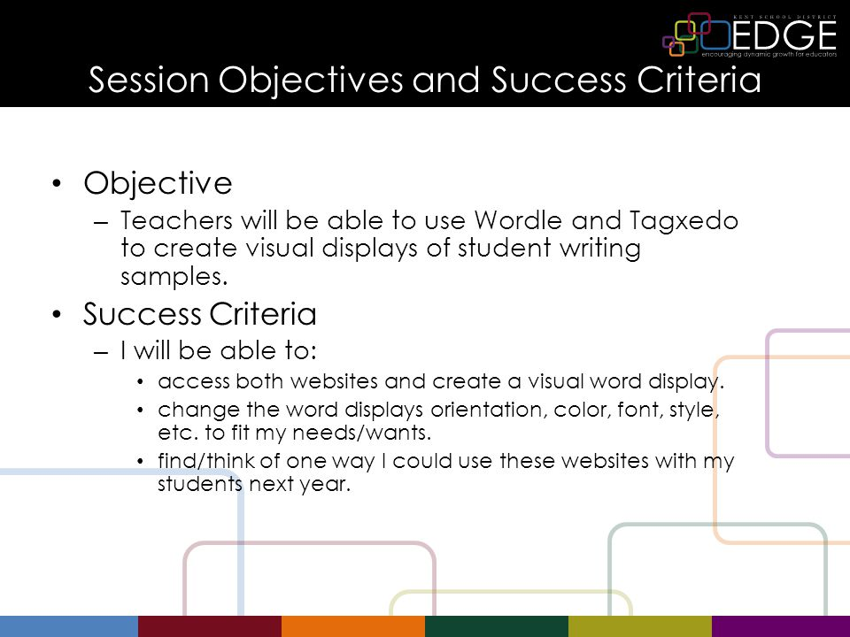 Session Objectives and Success Criteria Objective – Teachers will be able to use Wordle and Tagxedo to create visual displays of student writing sampl