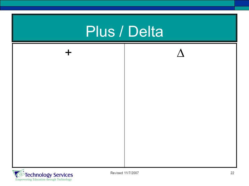 22 Plus / Delta +∆ Revised 11/7/2007