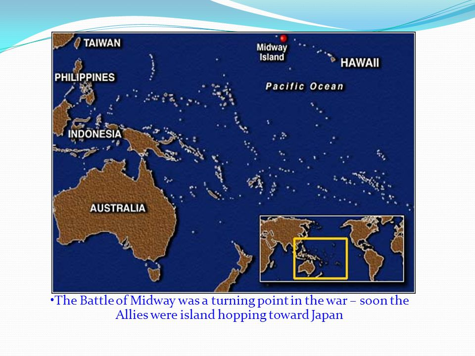 KAMIKAZE PILOTS ATTACK ALLIES The Americans continued leapfrogging across the Pacific toward Japan Japanese countered by employing a new tactic – Kamikaze (divine wind) attacks Pilots in small bomb- laden planes would crash into Allied ships In the Battle for the Philippines, 424 Kamikaze pilots sank 16 ships and damaged 80 more