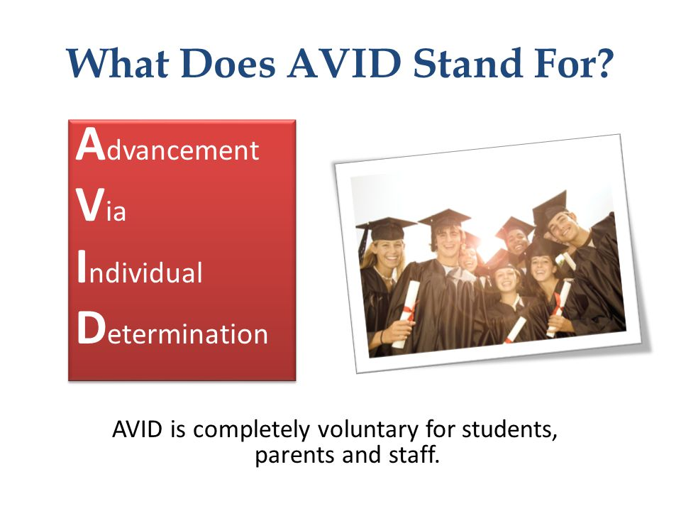 What Does AVID Stand For? A dvancement V ia I ndividual D etermination A dvancement V ia I ndividual D etermination AVID is completely voluntary for s