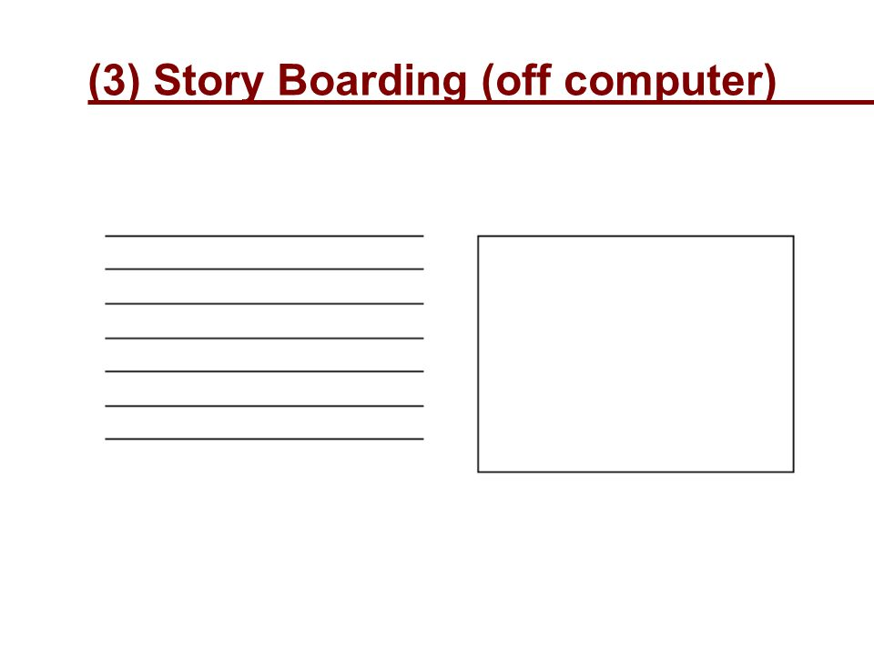 (3) Story Boarding (off computer)