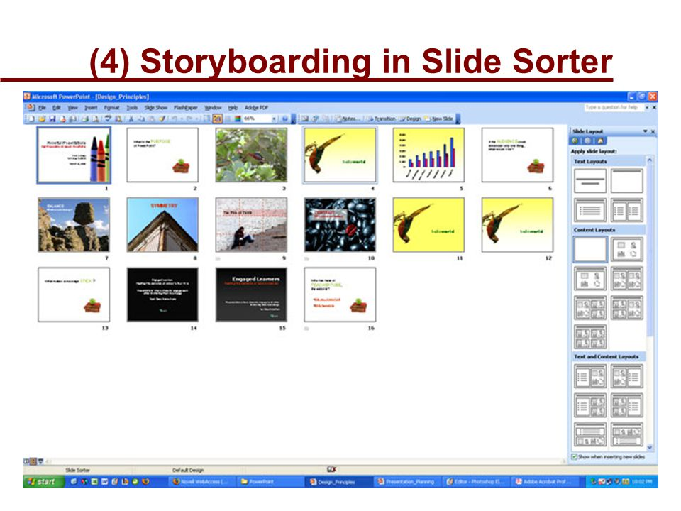 (4) Storyboarding in Slide Sorter