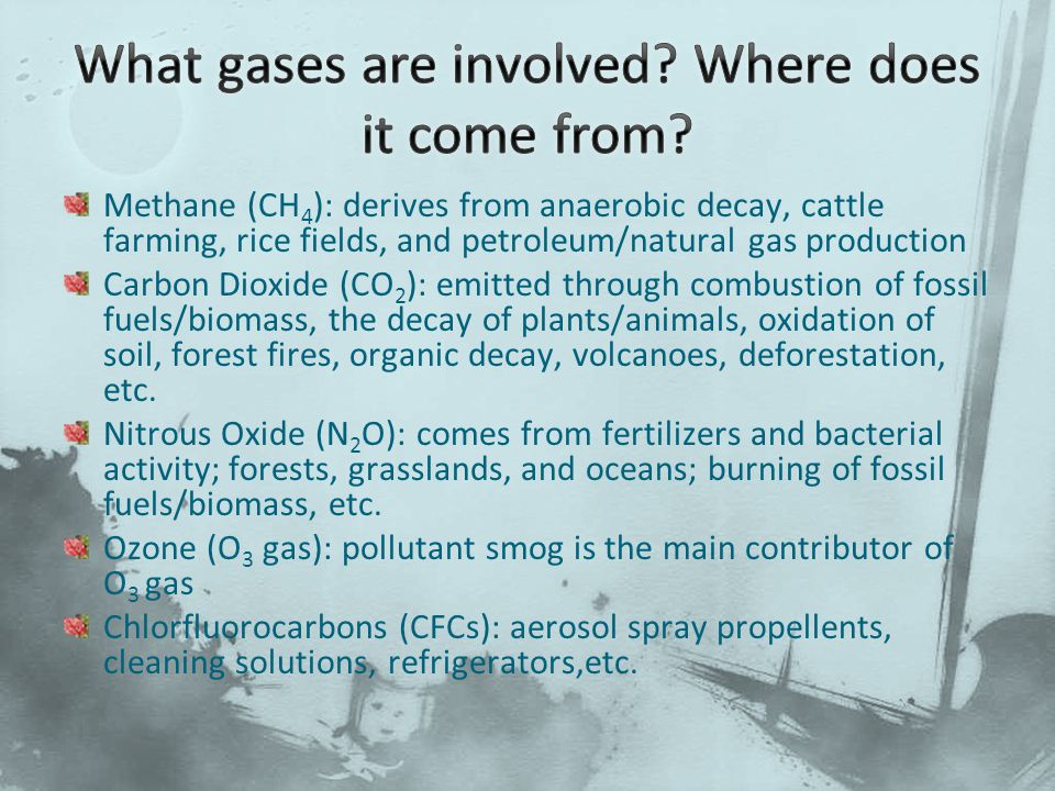 Methane (CH 4 ): derives from anaerobic decay, cattle farming, rice fields, and petroleum/natural gas production Carbon Dioxide (CO 2 ): emitted through combustion of fossil fuels/biomass, the decay of plants/animals, oxidation of soil, forest fires, organic decay, volcanoes, deforestation, etc.