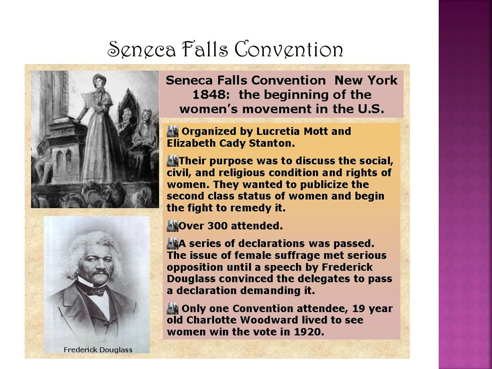 The Declaration of Sentiments The document was modeled in the same language as the Declaration of Independence It was ridiculed The convention itself resulted in few concrete improvements in women's rights… But it marked the beginning of the Women's rights movement in the United States