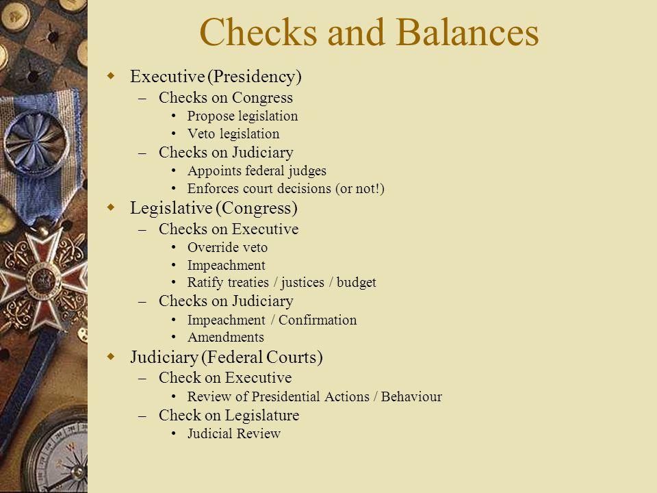 Checks and Balances  Executive (Presidency) – Checks on Congress Propose legislation Veto legislation – Checks on Judiciary Appoints federal judges E