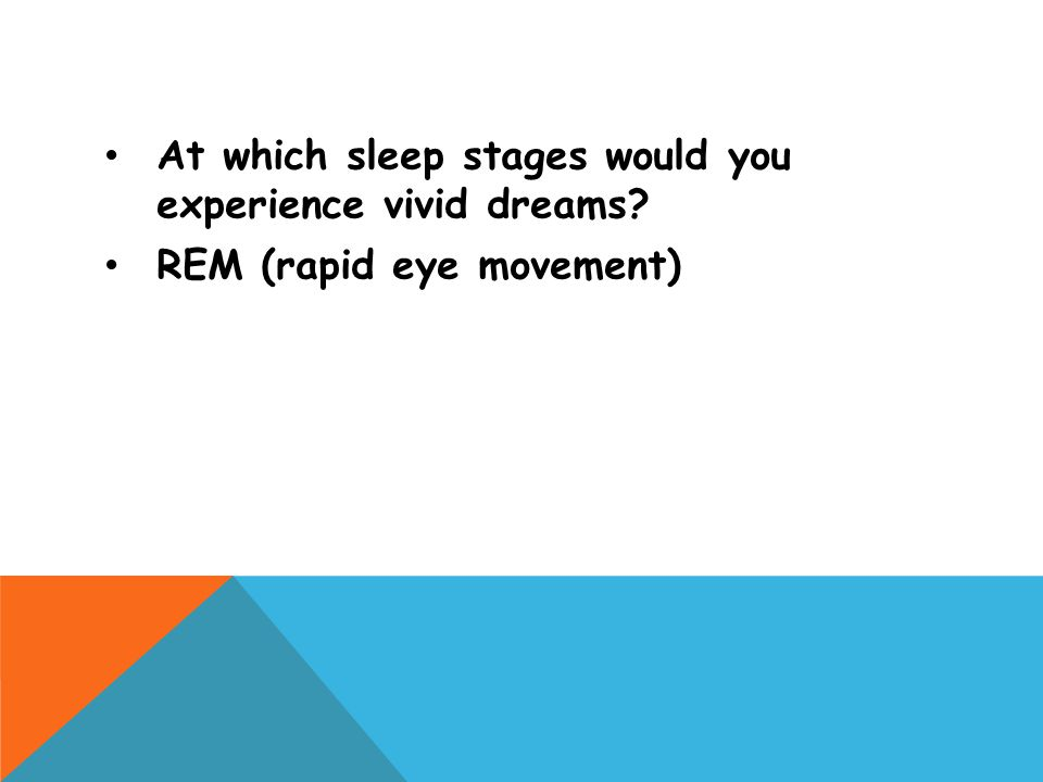 At which sleep stages would you experience vivid dreams? REM (rapid eye movement)