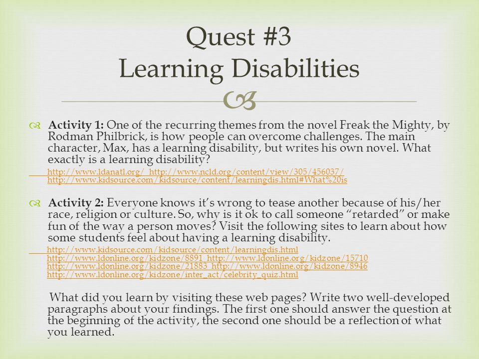   Activity 1: One of the recurring themes from the novel Freak the Mighty, by Rodman Philbrick, is how people can overcome challenges. The main char
