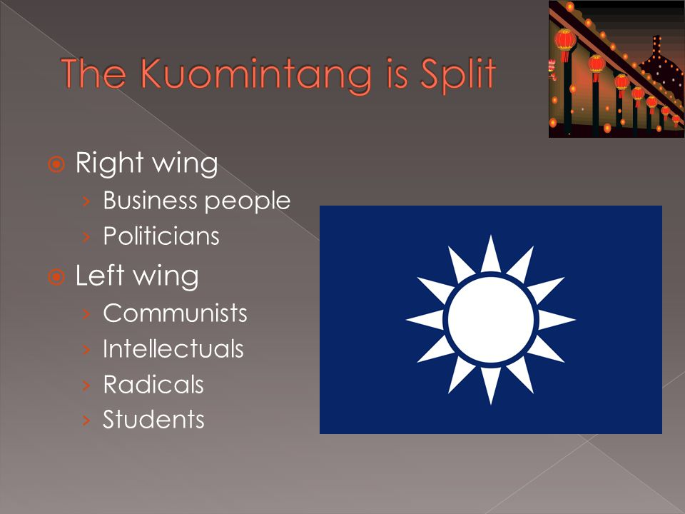  Right wing › Business people › Politicians  Left wing › Communists › Intellectuals › Radicals › Students