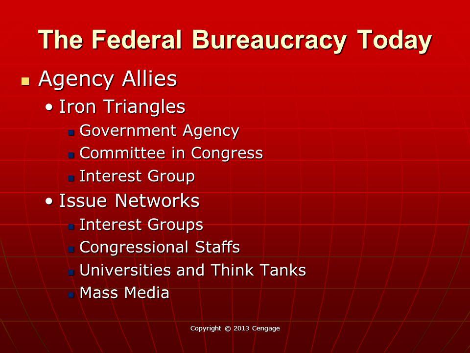 The Federal Bureaucracy Today Agency Allies Agency Allies Iron TrianglesIron Triangles Government Agency Government Agency Committee in Congress Commi