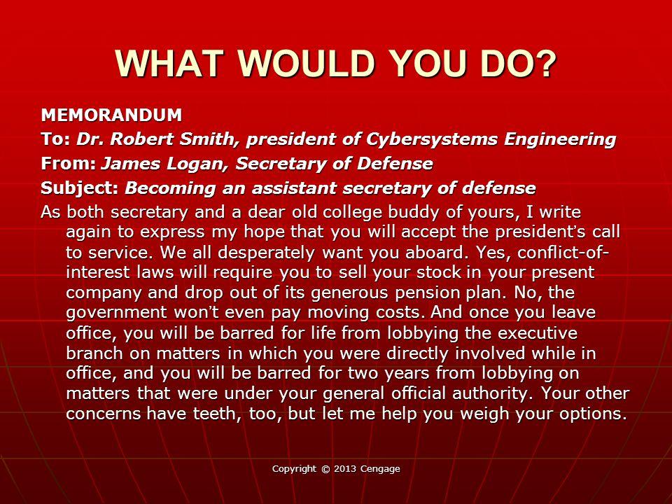 MEMORANDUM To: Dr. Robert Smith, president of Cybersystems Engineering From: James Logan, Secretary of Defense Subject: Becoming an assistant secretar