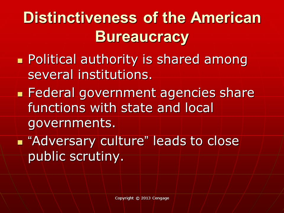 Distinctiveness of the American Bureaucracy Political authority is shared among several institutions. Political authority is shared among several inst