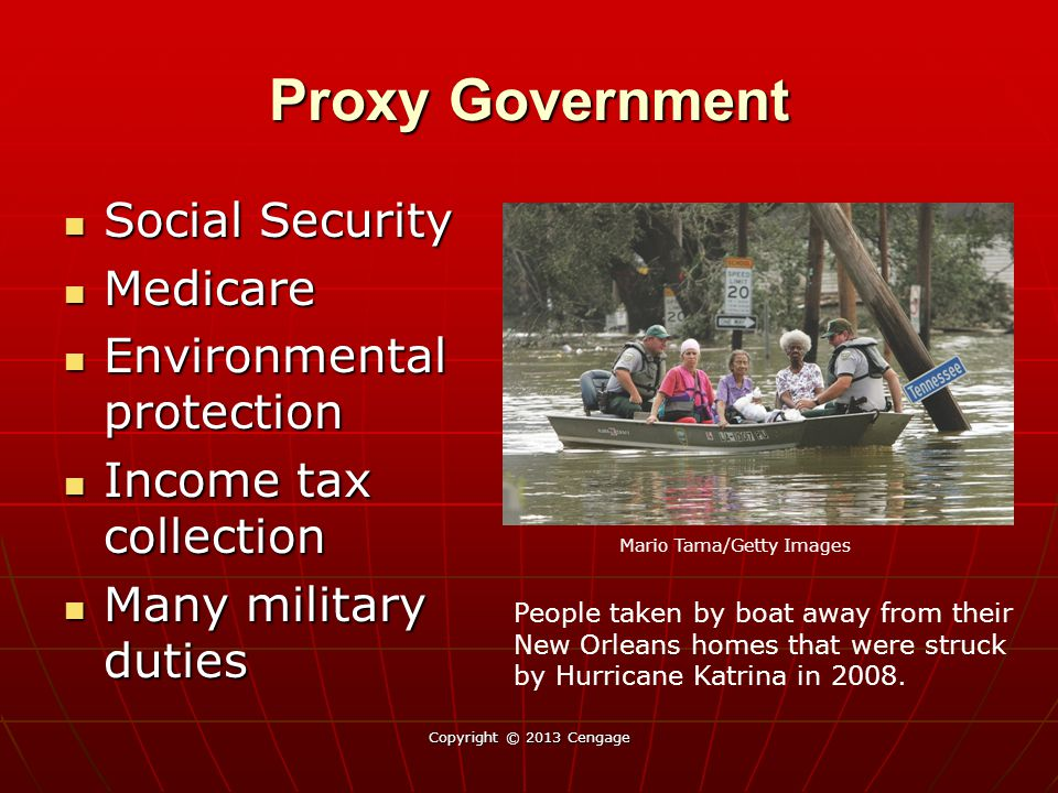 Proxy Government Social Security Social Security Medicare Medicare Environmental protection Environmental protection Income tax collection Income tax