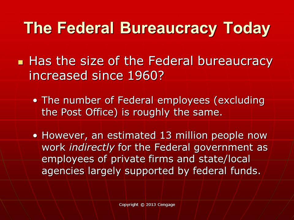 The Federal Bureaucracy Today Constraints – Why so many.