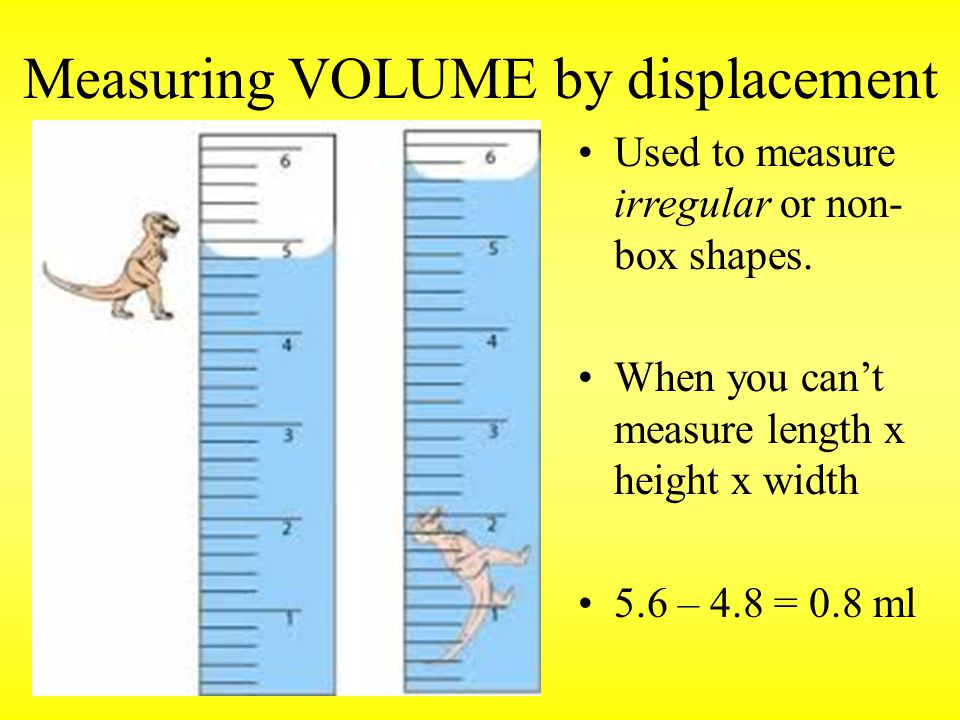 Measuring VOLUME by displacement Used to measure irregular or non- box shapes.