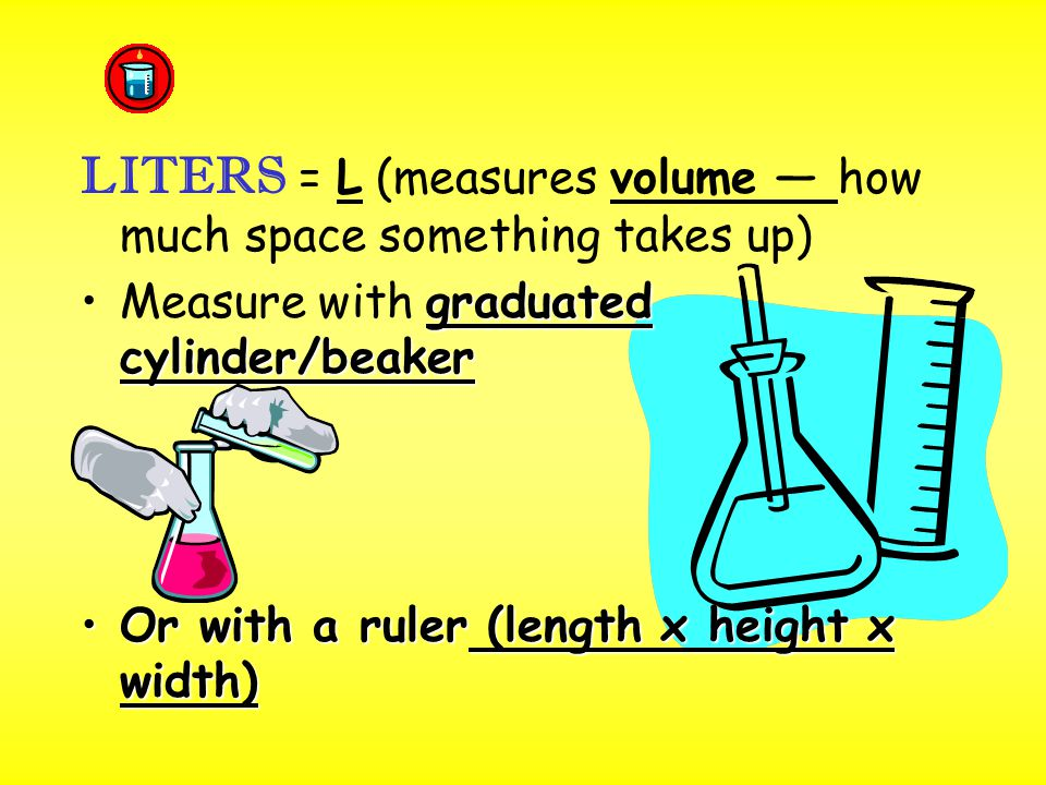 LITERS = L (measures volume — how much space something takes up) graduated cylinder/beakerMeasure with graduated cylinder/beaker Or with a ruler (length x height x width)Or with a ruler (length x height x width)