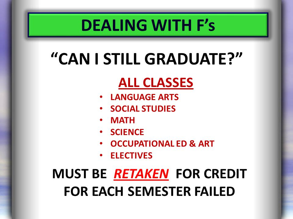 ALL CLASSES LANGUAGE ARTS SOCIAL STUDIES MATH SCIENCE OCCUPATIONAL ED & ART ELECTIVES MUST BE RETAKEN FOR CREDIT FOR EACH SEMESTER FAILED DEALING WITH F's CAN I STILL GRADUATE?