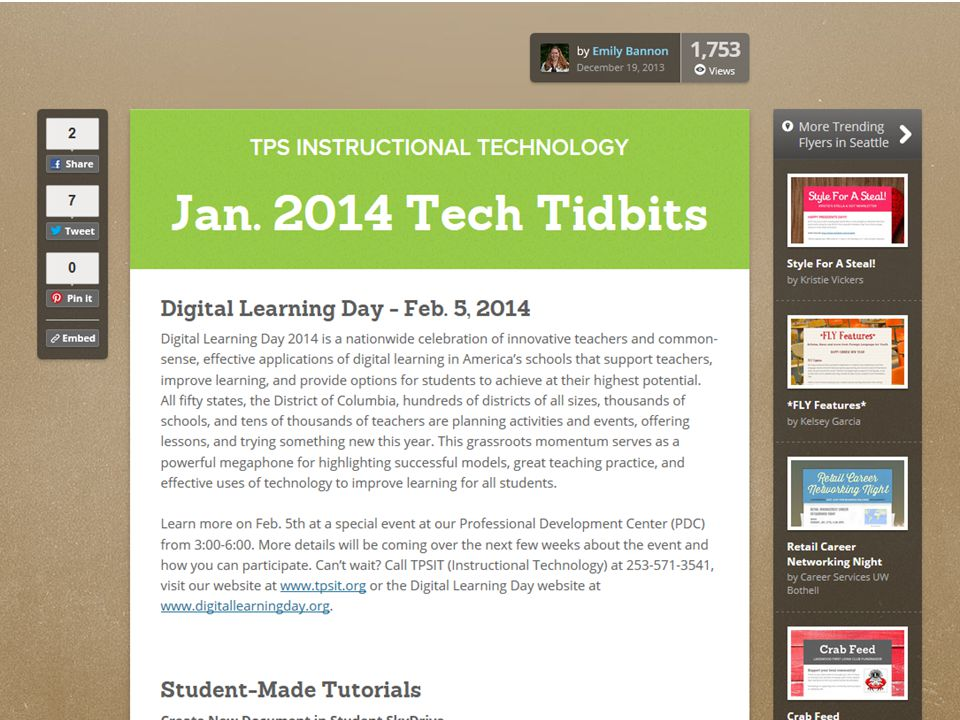 Instructional Technology Digital Learning Day Tech Tidbits Evaluating new hardware Document Cameras Interactive Projectors Common Core YouTube