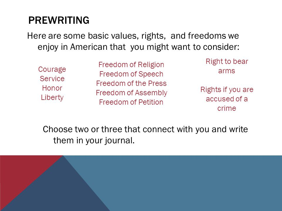 PREWRITING Here are some basic values, rights, and freedoms we enjoy in American that you might want to consider: Courage Service Honor Liberty Freedom of Religion Freedom of Speech Freedom of the Press Freedom of Assembly Freedom of Petition Right to bear arms Rights if you are accused of a crime Choose two or three that connect with you and write them in your journal.
