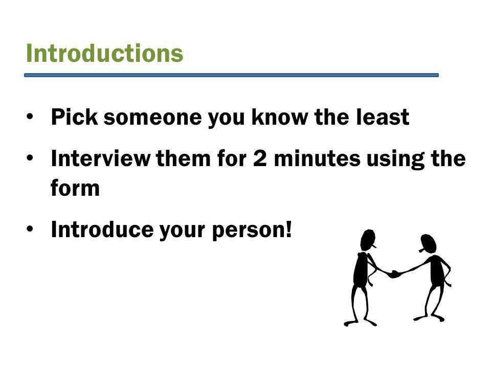 Introductions Pick someone you know the least Interview them for 2 minutes using the form Introduce your person!