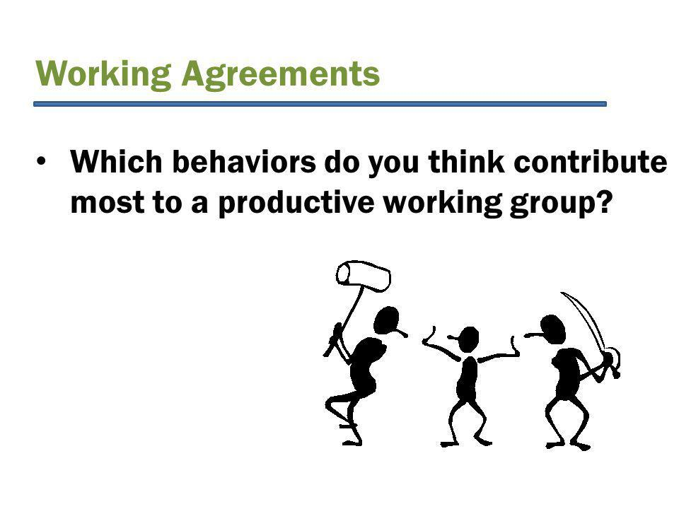 Working Agreements Which behaviors do you think contribute most to a productive working group