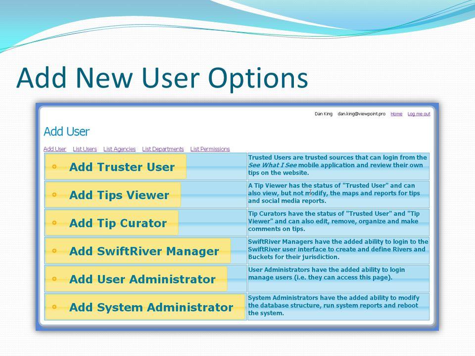 Add New User Options