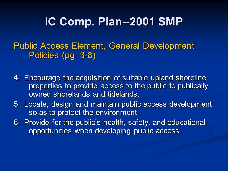 IC Comp. Plan--2001 SMP Public Access Element, General Development Policies (pg. 3-8) 4. Encourage the acquisition of suitable upland shoreline proper