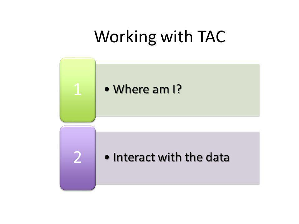 Where am I?Where am I? 1 Interact with the dataInteract with the data 2 Working with TAC