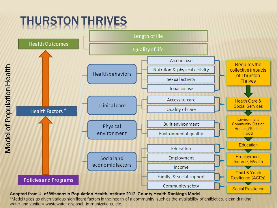 Model of Population Health Requires the collective impacts of Thurston Thrives Health Care & Social Services Education Employment, Income, Wealth Child & Youth Resilience (ACEs) Environment Community Design Housing/Shelter Food Environment Community Design Housing/Shelter Food Social Resilience Adapted from U.