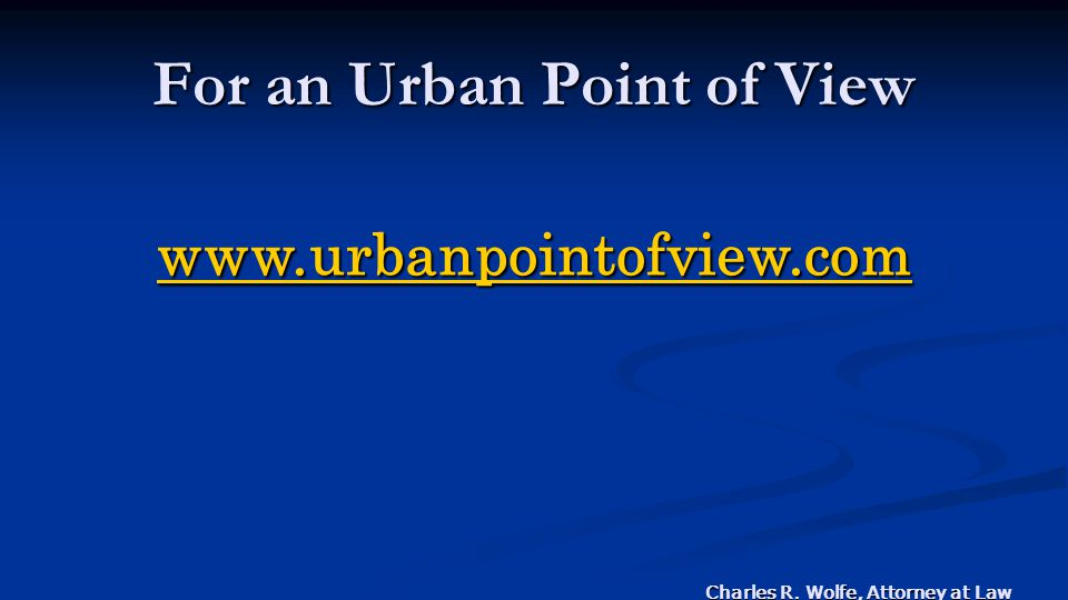 For an Urban Point of View