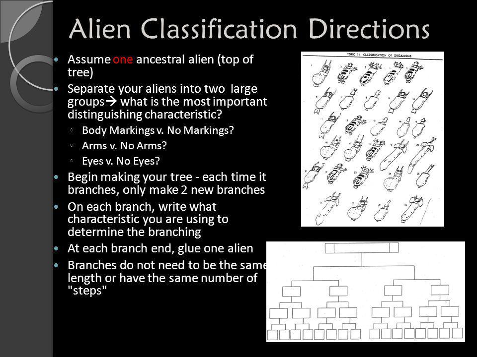 Alien Classification Directions Assume one ancestral alien (top of tree) Separate your aliens into two large groups  what is the most important disti