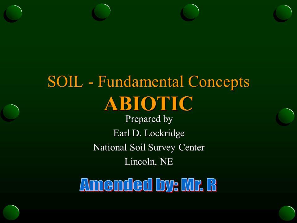 SOIL - Fundamental Concepts ABIOTIC Prepared by Earl D. Lockridge National Soil Survey Center Lincoln, NE
