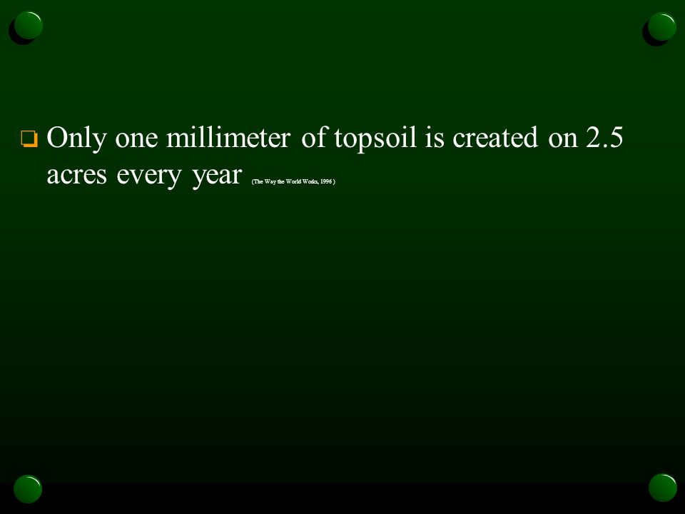 o Only one millimeter of topsoil is created on 2.5 acres every year (The Way the World Works, 1996 )