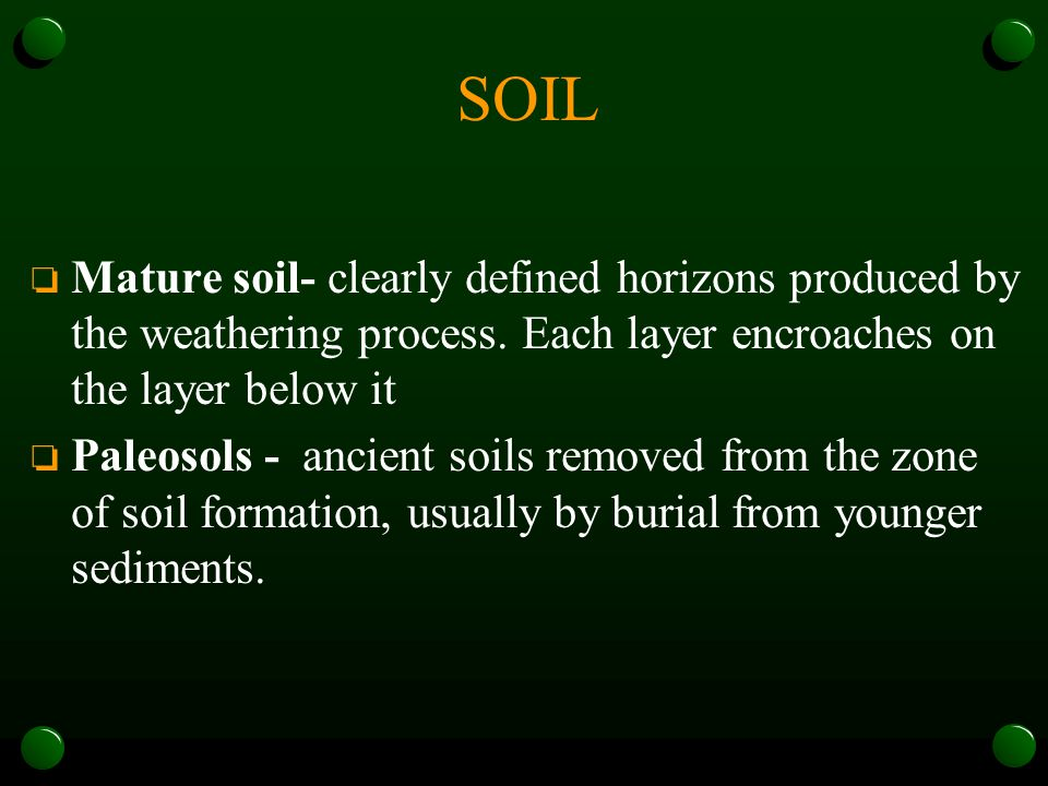 SOIL o Mature soil- clearly defined horizons produced by the weathering process. Each layer encroaches on the layer below it o Paleosols - ancient soi